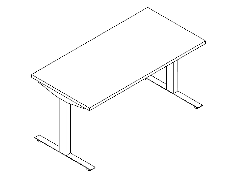A line drawing - Nevi Sit-to-Stand Table–T Foot