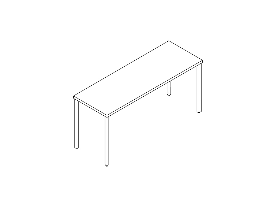 A line drawing - OE1 Communal Table–Seated Height–1 Piece–Single Sided