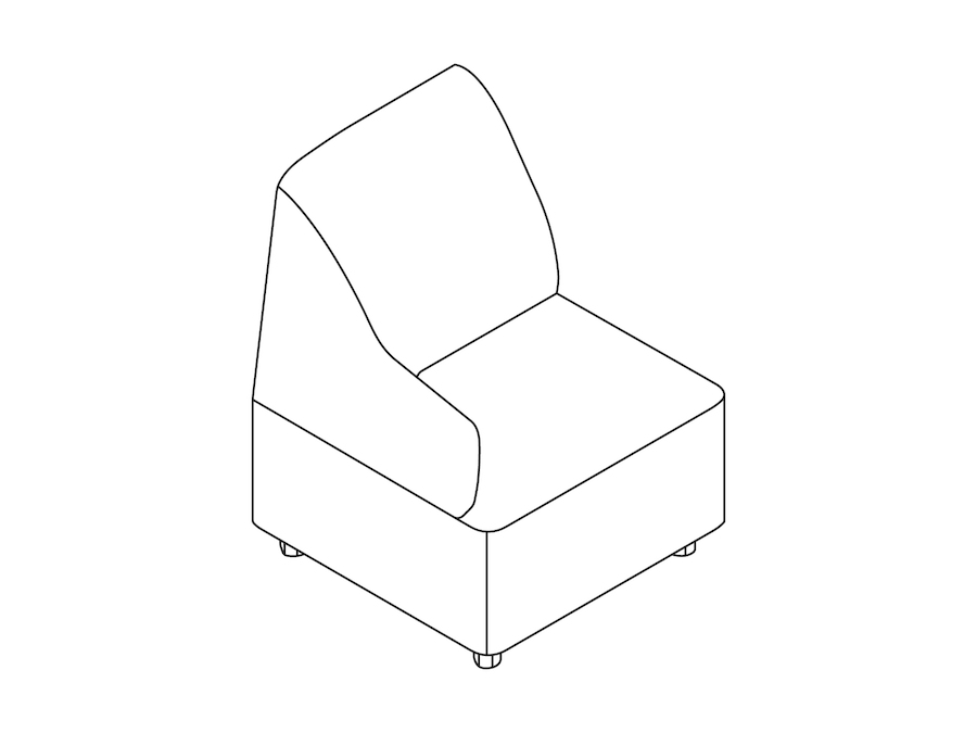 A line drawing - Plex Chair–Right Arm
