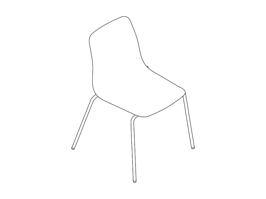 A line drawing - Polly Side Chair–Armless–4-Leg Base