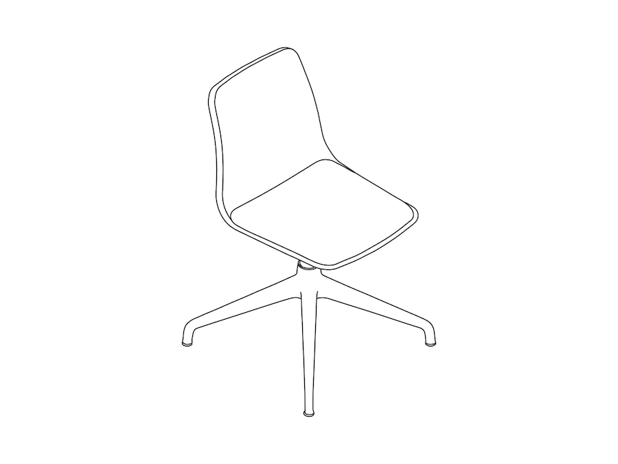 A line drawing - Polly Side Chair–Armless–4-Star Base–Upholstered Seat Pad
