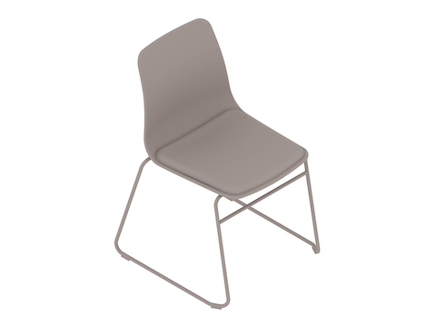 A generic rendering - Polly Side Chair–Armless–Sled Base–Upholstered Seat Pad
