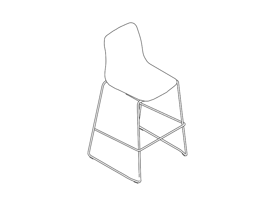 A line drawing - Polly Stool–Bar Height–Sled Base