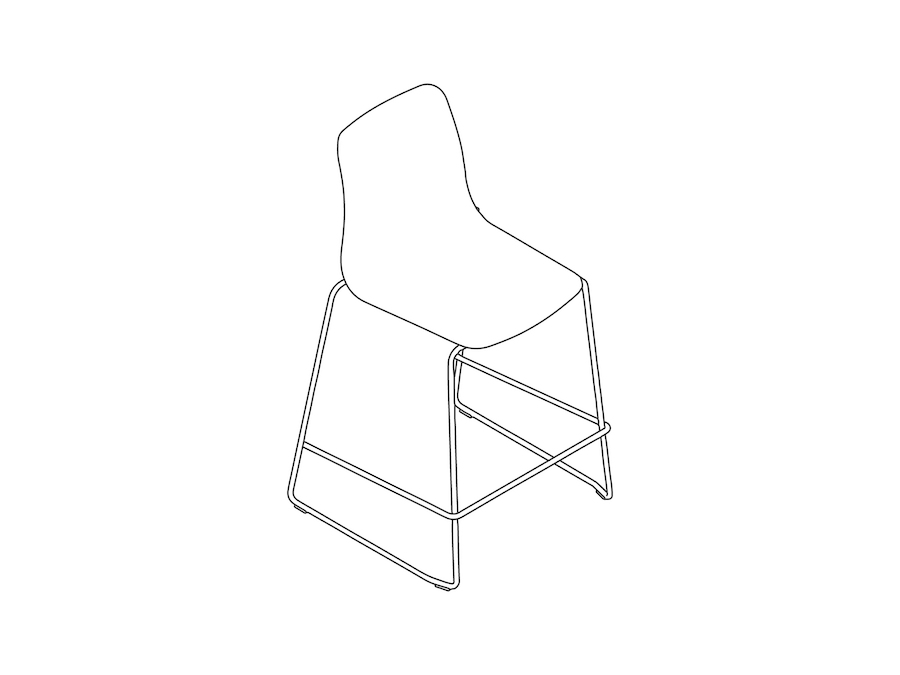 A line drawing - Polly Stool–Counter Height–Sled Base