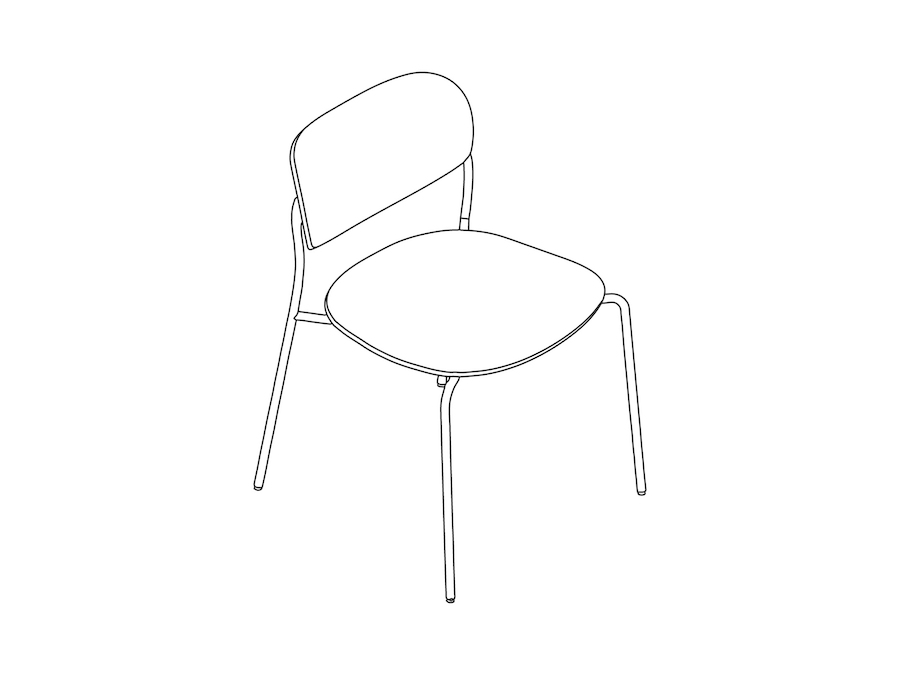 A line drawing - Portrait Chair–Armless–Upholstered