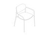 A line drawing - Portrait Chair–With Arms–Upholstered