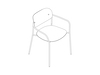 A line drawing - Portrait Chair–With Arms–Wood