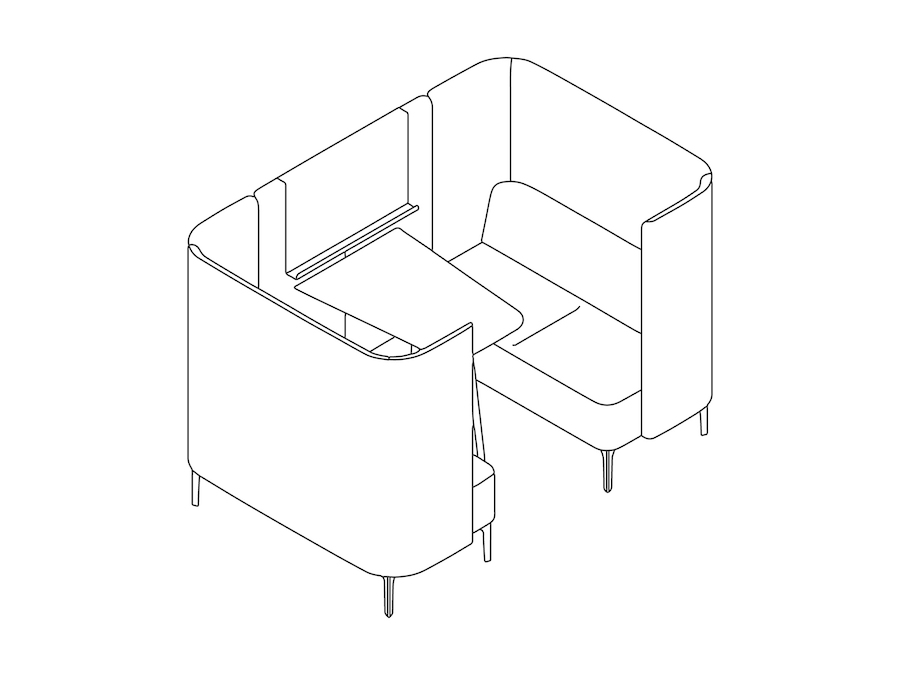 A line drawing - Pullman Booth–2 Seat