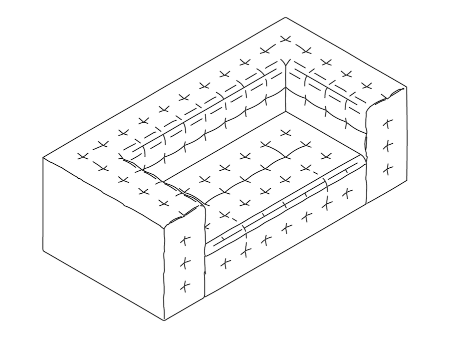A line drawing - Rapport Settee–With Arms