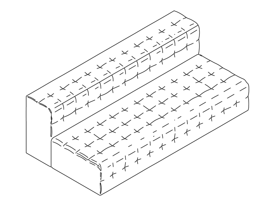A line drawing - Rapport Sofa–Armless