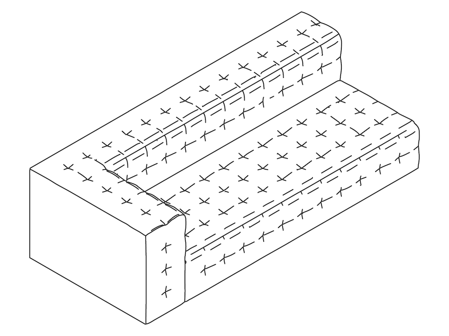 A line drawing - Rapport Sofa–Right Arm