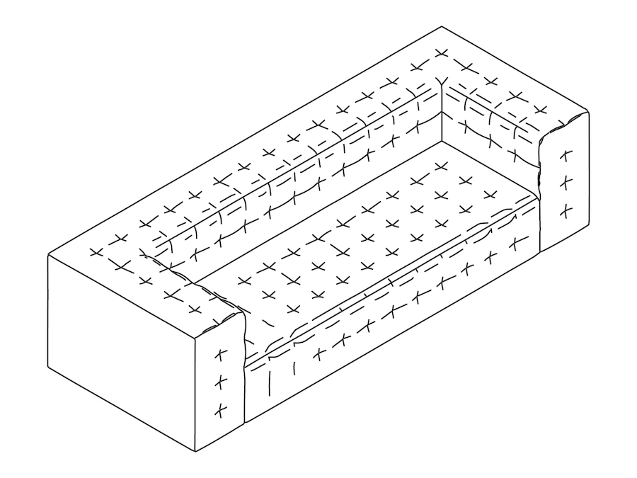 A line drawing - Rapport Sofa–With Arms