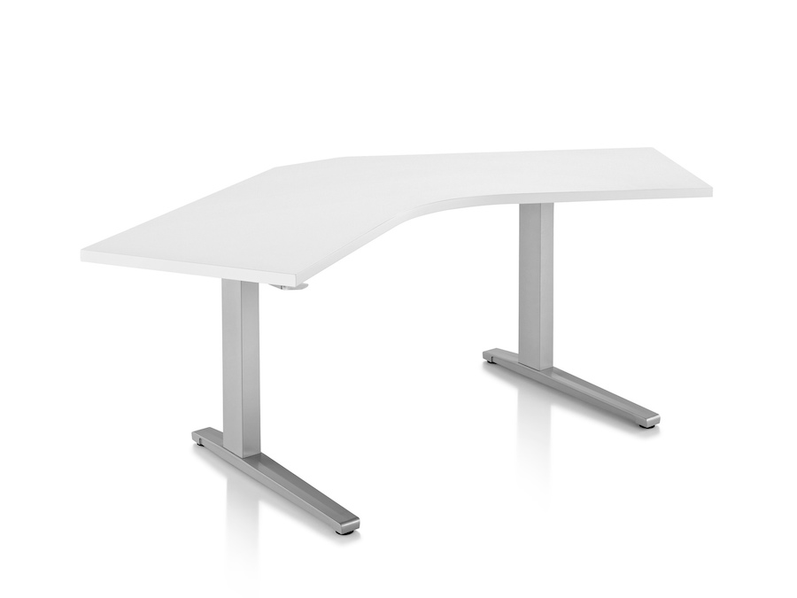 A photo - Renew Sit-to-Stand Table–120 Degree Corner