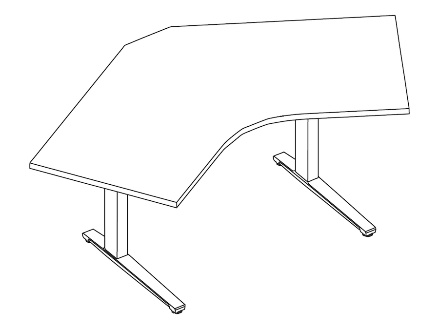 A line drawing - Renew Sit-to-Stand Table–120 Degree Corner