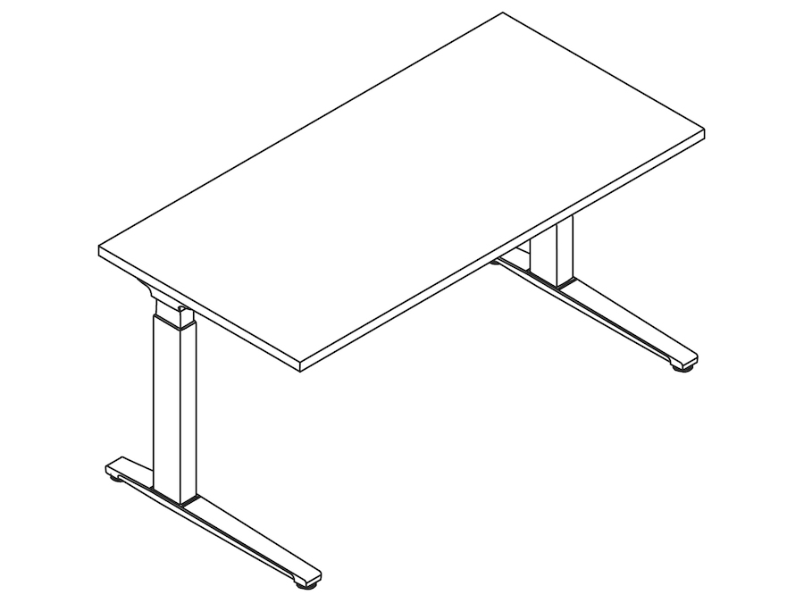 A line drawing - Renew Sit-to-Stand Table–Rectangular–C Foot