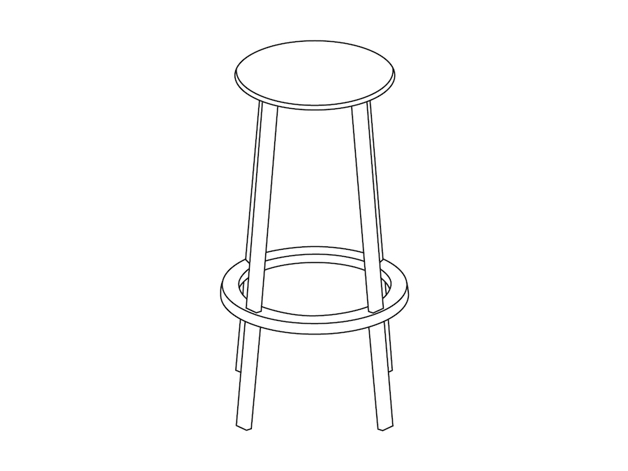 A line drawing - Revolver Stool–Bar Height