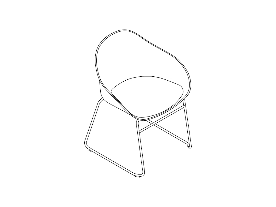 A line drawing - Ruby Side Chair–Sled Base–Nonupholstered