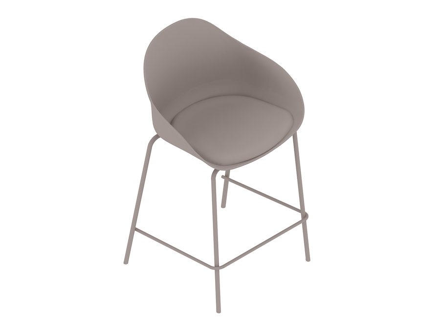 A generic rendering - Ruby Stool–Counter Height–4-Leg Base–Upholstered Seat Pad