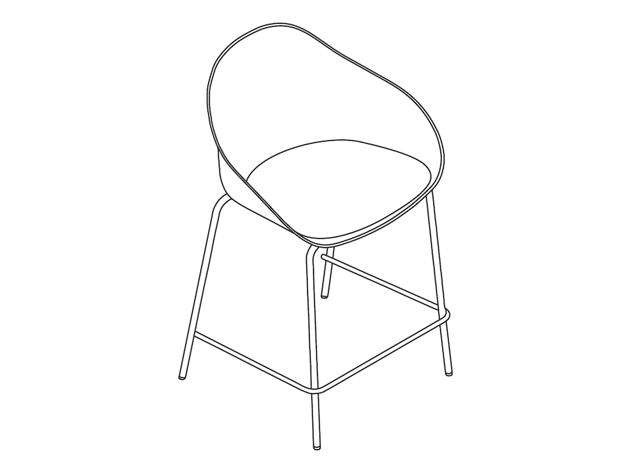 A line drawing - Ruby Stool–Counter Height–4-Leg Base–Upholstered Seat Pad