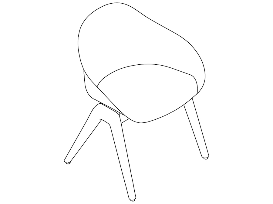 A line drawing - Ruby Wood Chair–Nonupholstered