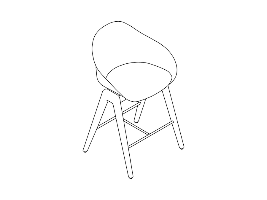 A line drawing - Ruby Wood Stool–Counter Height–Nonupholstered