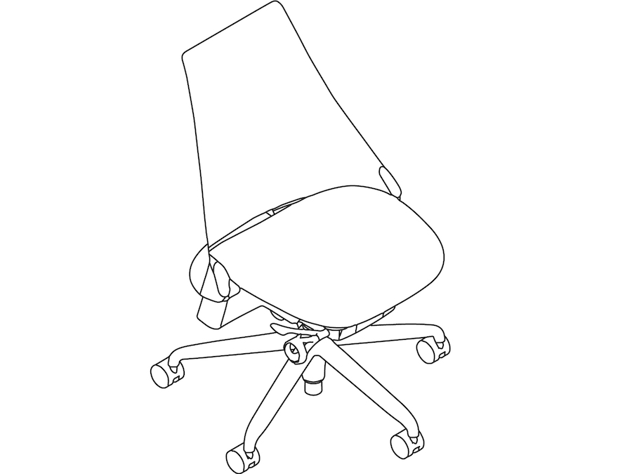 A line drawing - Sayl Chair–Suspension Mid Back–Armless