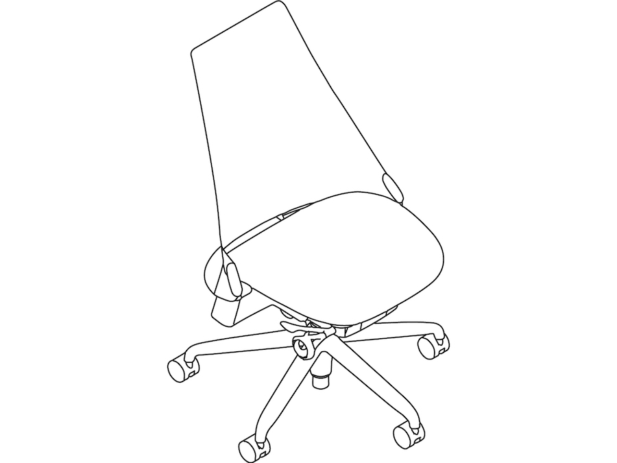A line drawing - Sayl Chair–Upholstered High Back–Armless
