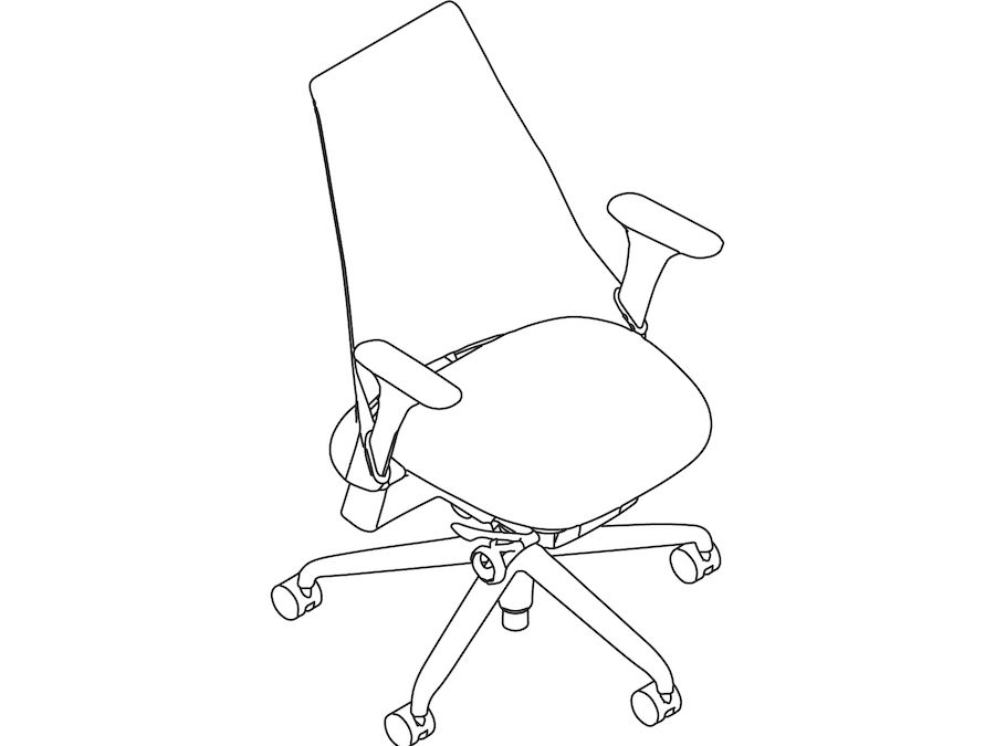 A line drawing - Sayl Chair–Upholstered High Back–Fixed Arms