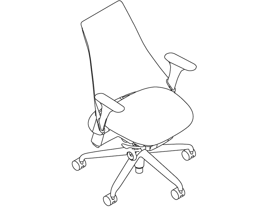 A line drawing - Sayl Chair–Upholstered High Back–Fully Adjustable Arms