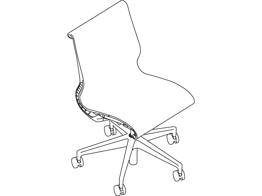 A line drawing - Setu Chair–5-Star Base–Armless
