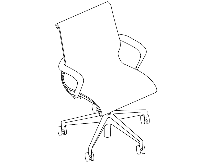 A line drawing - Setu Chair–5-Star Base–Ribbon Arms