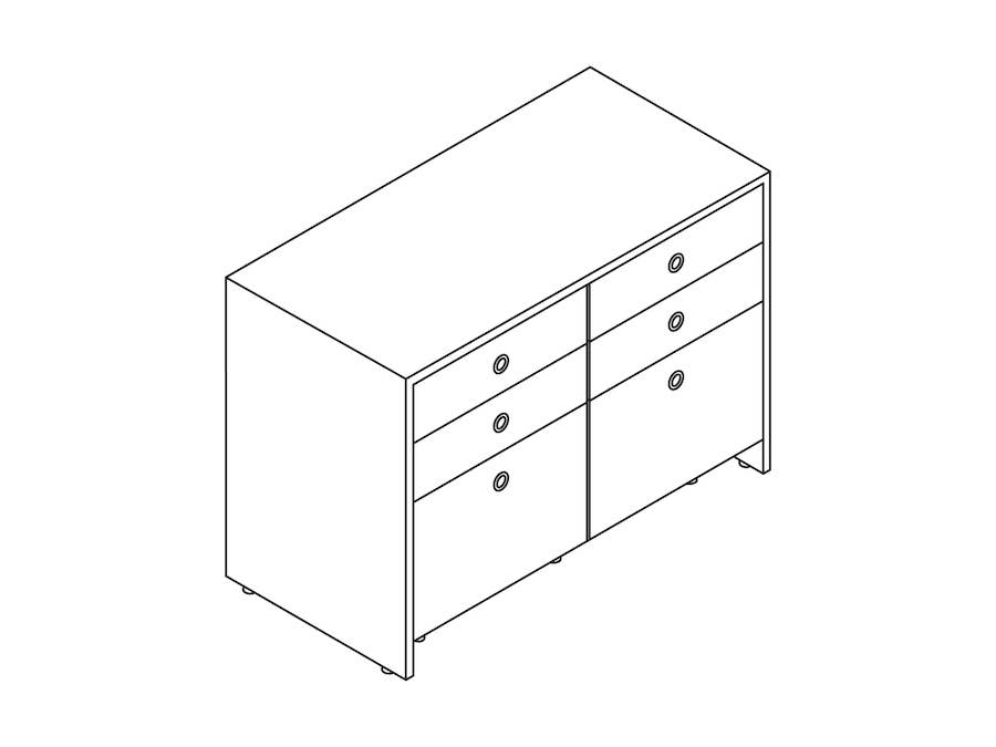 A line drawing - Sled Base Credenza–2 Units Wide