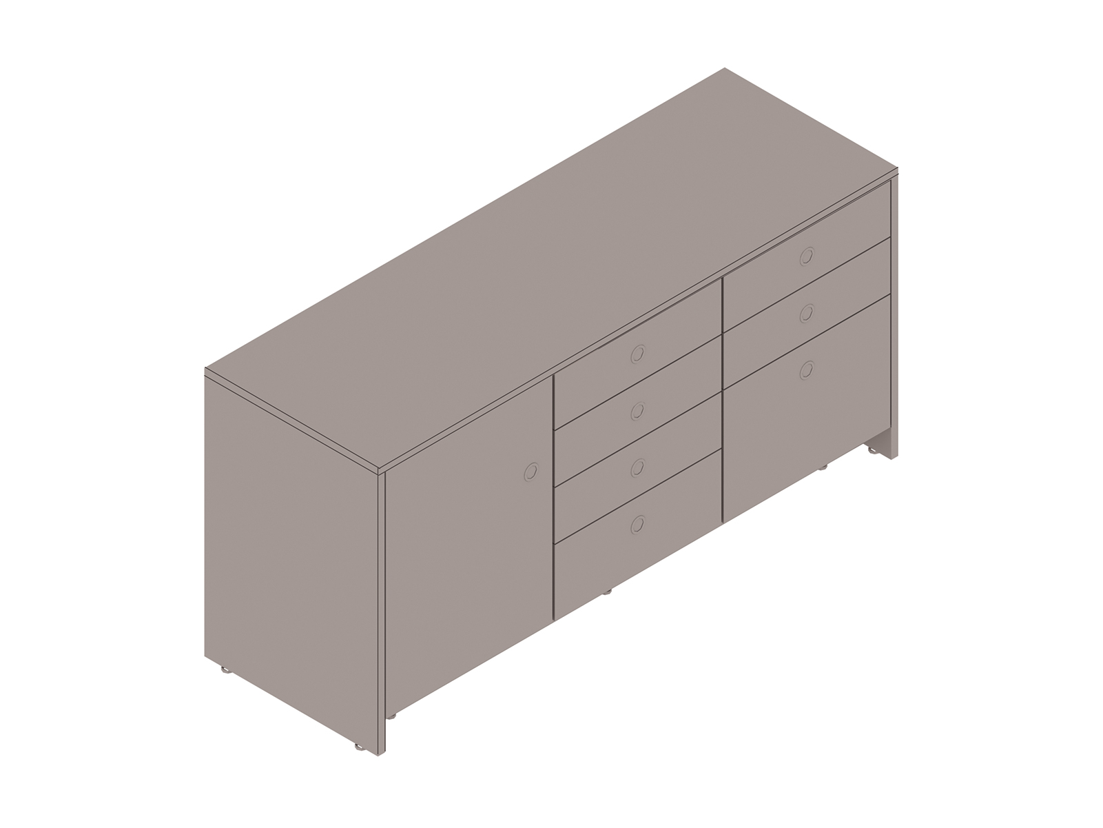 A generic rendering - Sled Base Credenza–3 Units Wide
