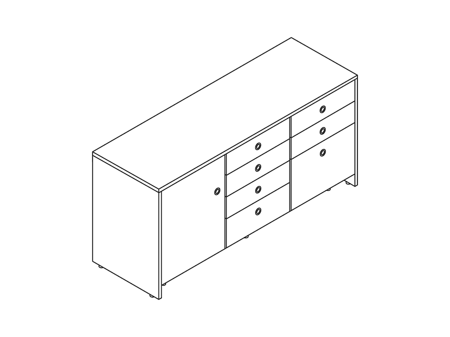 A line drawing - Sled Base Credenza–3 Units Wide