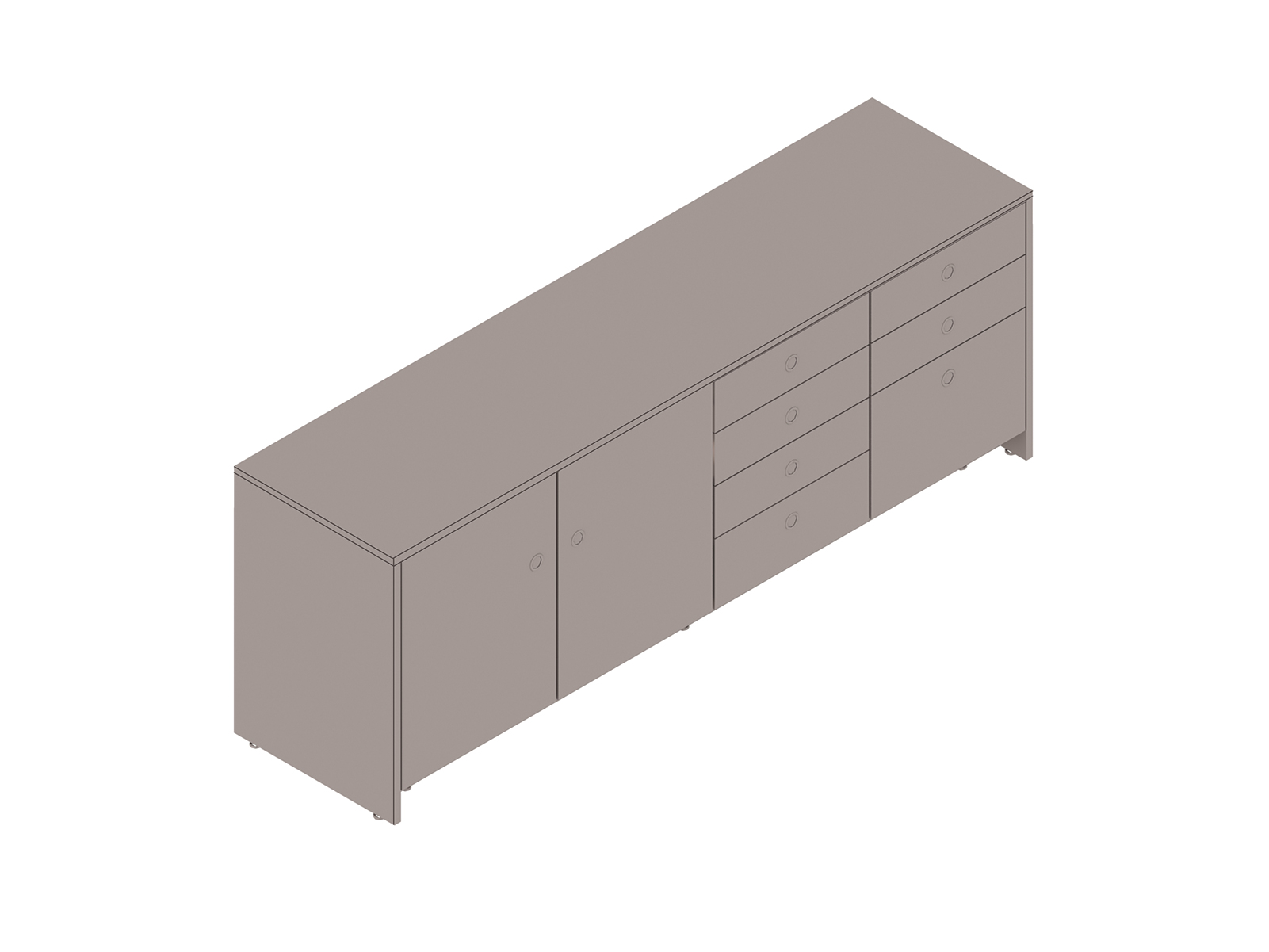A generic rendering - Sled Base Credenza–4 Units Wide