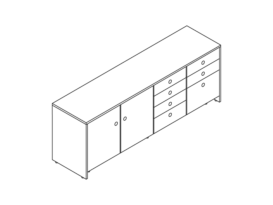 A line drawing - Sled Base Credenza–4 Units Wide
