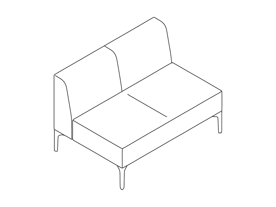 A line drawing - Symbol Modular Seating–Armless–2 Seat