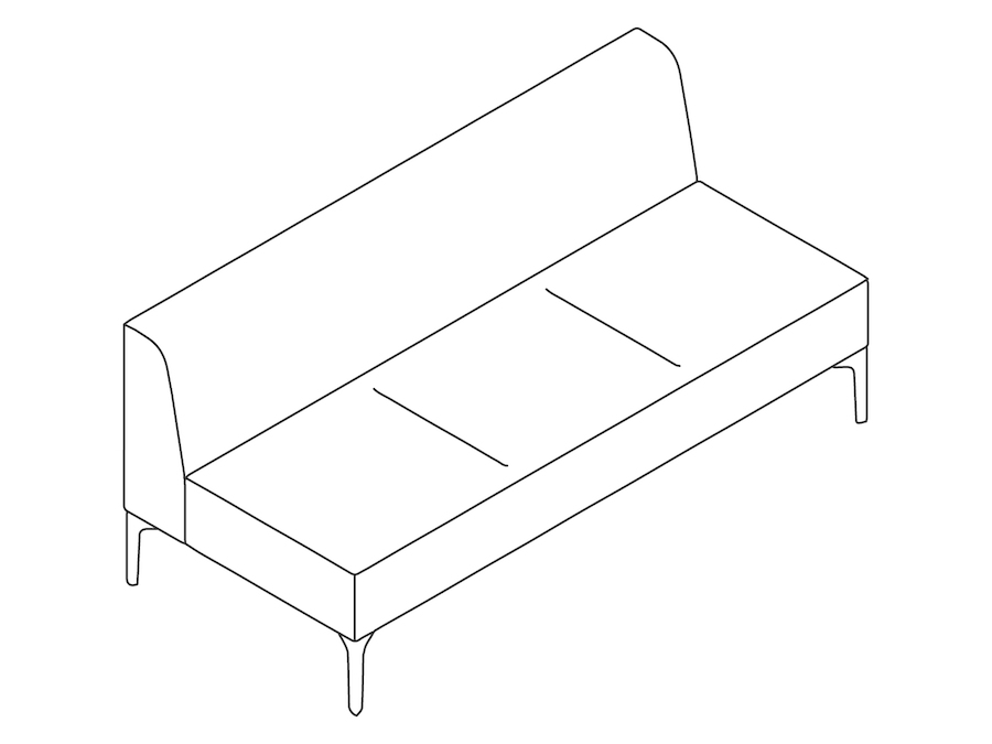 A line drawing - Symbol Modular Seating–Armless–3 Seat