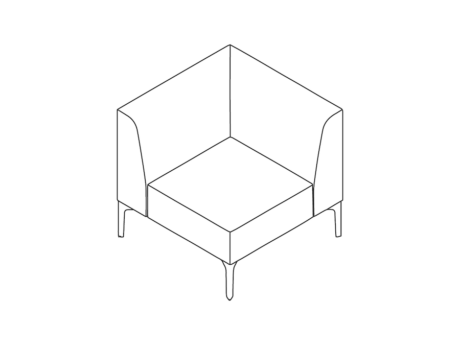 A line drawing - Symbol Modular Seating–Corner