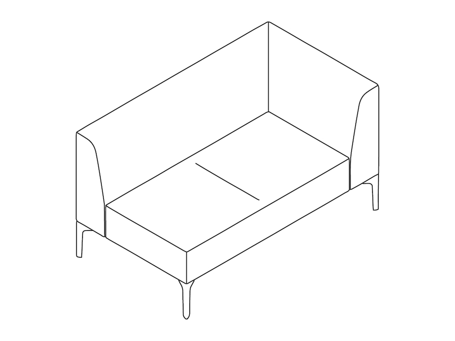 A line drawing - Symbol Modular Seating–Left Arm–2 Seat