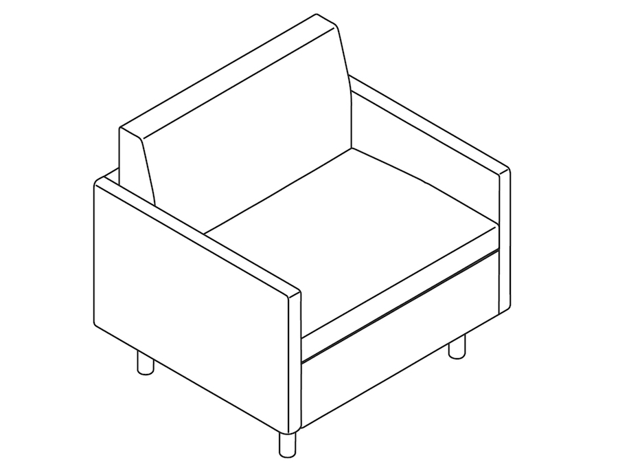 A line drawing - Tuxedo Classic Club Chair