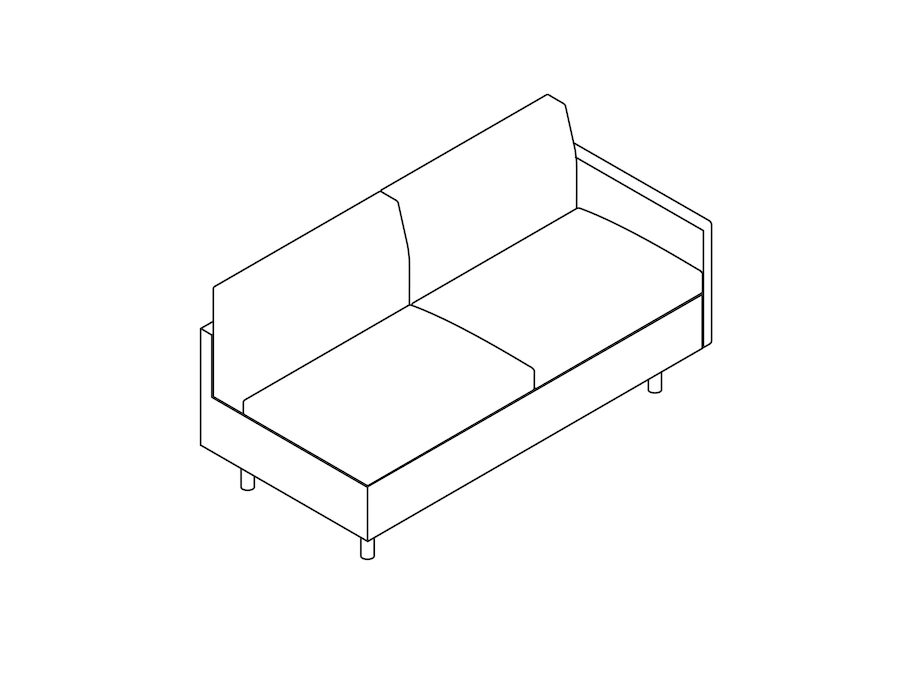 A line drawing - Tuxedo Classic Settee–Left Arm