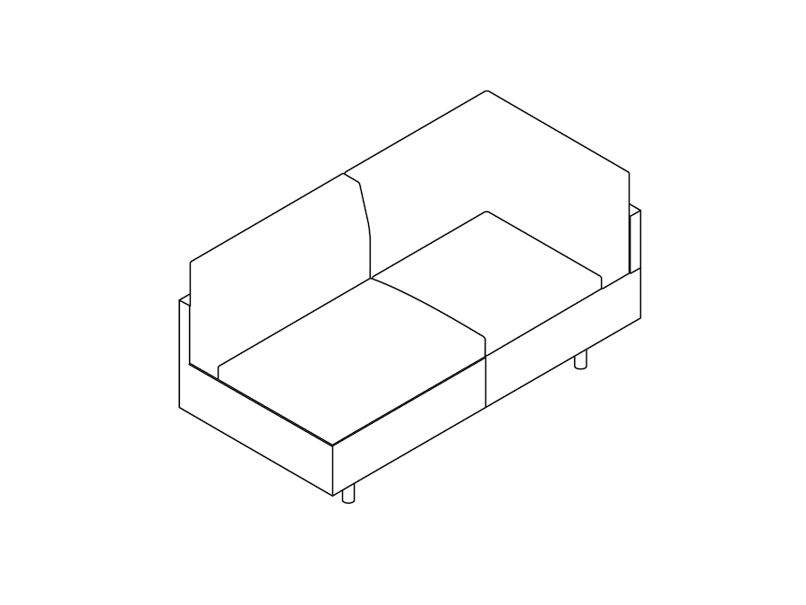 A line drawing - Tuxedo Classic Settee–Left Corner–Right Armless