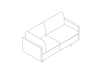 A line drawing - Tuxedo Classic Settee–Right Corner–Left Arm