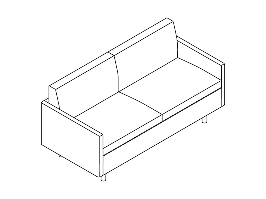 A line drawing - Tuxedo Classic Settee–With Arms