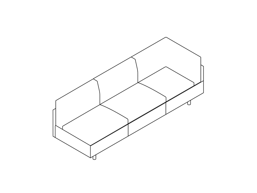 A line drawing - Tuxedo Classic Sofa–Left Corner–Right Armless