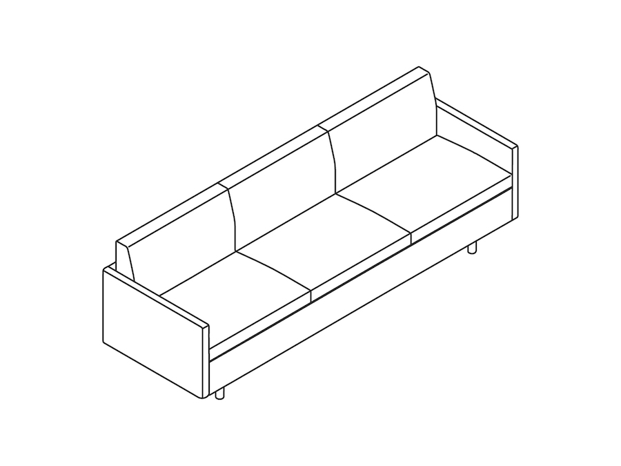 A line drawing - Tuxedo Classic Sofa–With Arms