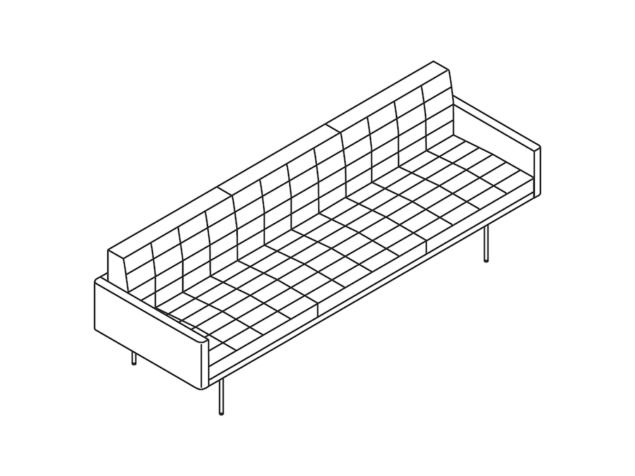 A line drawing - Tuxedo Component Sofa – With Arms