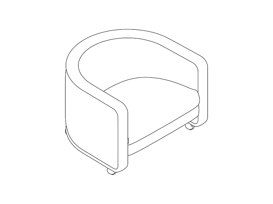 A line drawing - U-Chair–With Casters