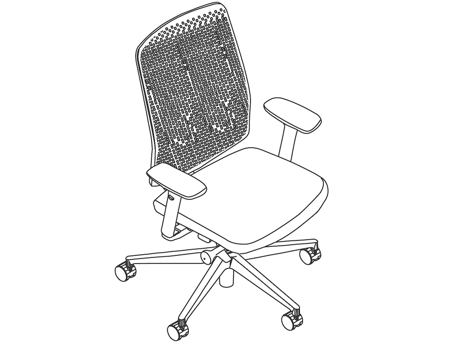 A line drawing - Verus Chair–Polymer Back–Height Adjustable Arms